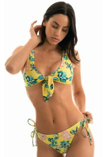 Accessorized yellow floral side-tie bikini - FLORESCER HIGH COMFORT