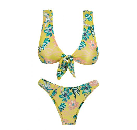 Yellow high-leg bikini with front knot in floral print - FLORESCER HIGHLEG