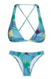 Floral graphic print crossover triangle halter bikini - FLOWER GEOMETRIC CORTINAO