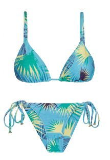 Accessorized floral blue side-tie bikini - FLOWER GEOMETRIC INV COMFORT