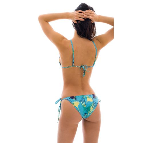 Accessorized floral blue side-tie bikini - FLOWER GEOMETRIC INV COMFORT