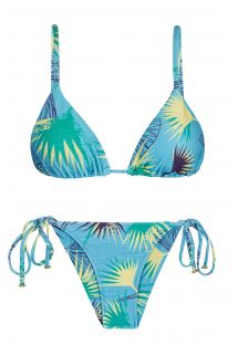 Blue floral side-tie bikini with straight straps - FLOWER GEOMETRIC INVISIBLE