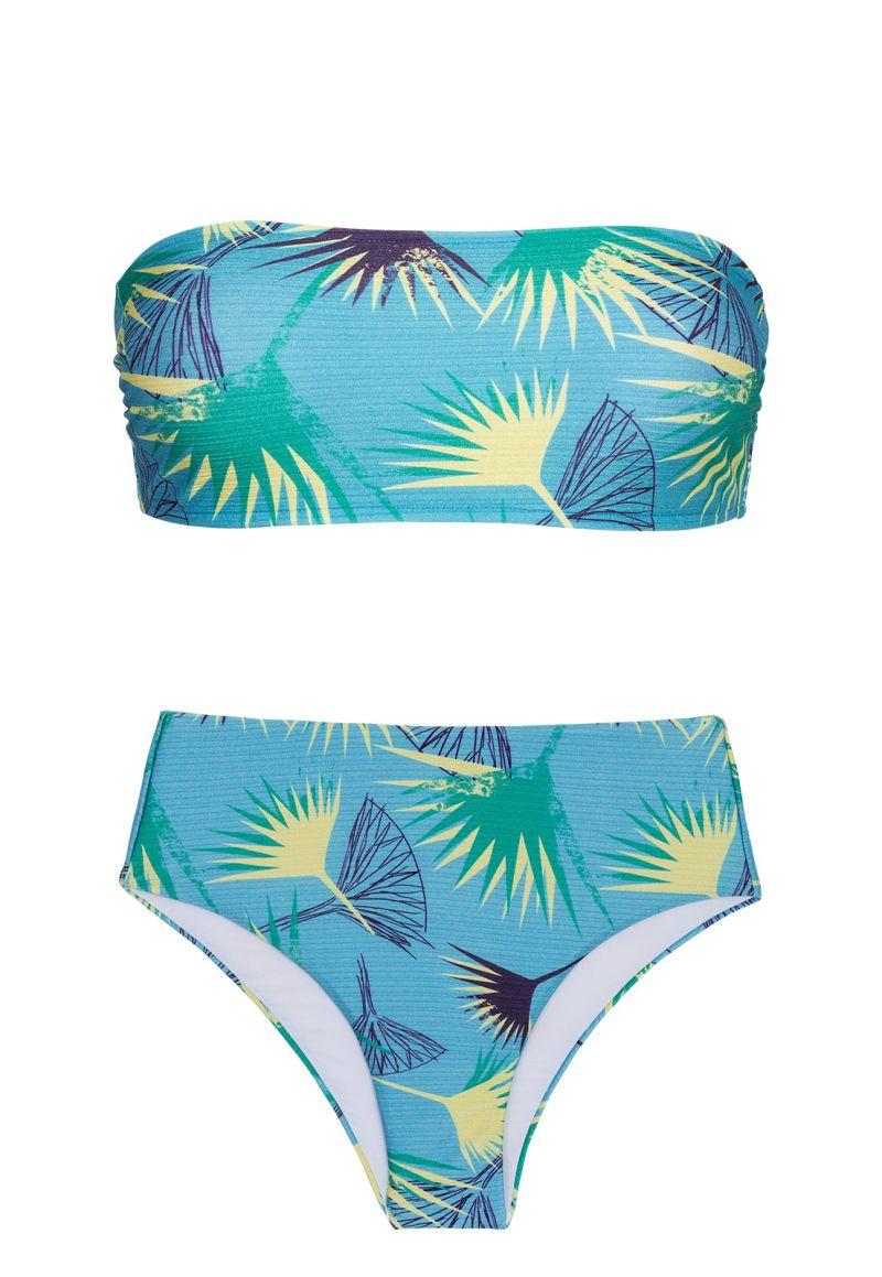Geblümter hochtaillierter Bandeau-Bikini - FLOWER GEOMETRIC RETO
