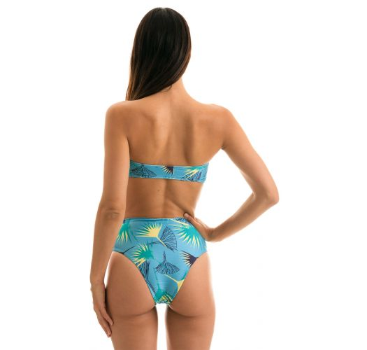 Blue floral bandeau high-waisted bikini - FLOWER GEOMETRIC RETO