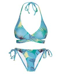 Accessorized blue graphic side-tie bikini with wrap top - FLOWER GEOMETRIC TRANSP COMFORT