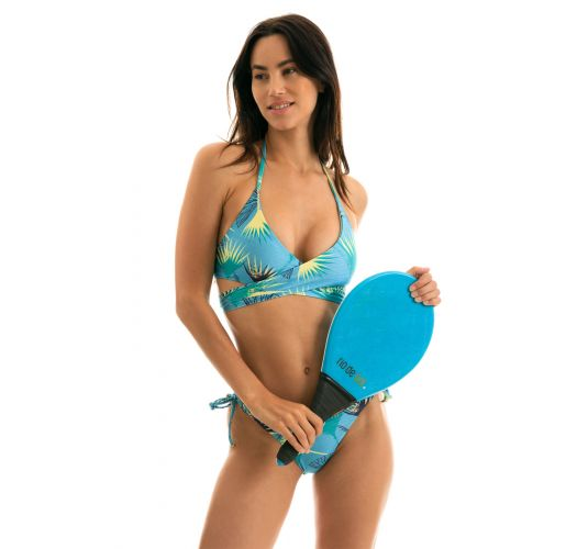 Blue graphic Brazilian side-tie bikini with wrap top - FLOWER GEOMETRIC TRANSPASSADO