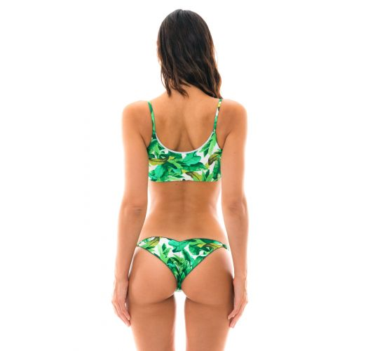Green high leg bra bikini - FOLHAGEM LAÇO