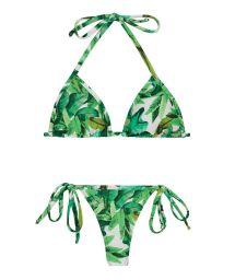 Maillot de bain string feuillage vert à nouer - FOLHAGEM MICRO