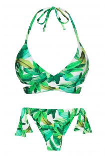 Green leaves side-tie bra bikini - FOLHAGEM TRANSPASSADO