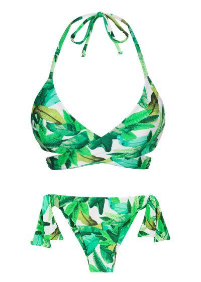 Grön lövmönstrad bikini med sidoknytning - FOLHAGEM TRANSPASSADO