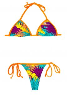 Bikini tanga tropical colorido, cordones naranjasFOLHAS LARANJA