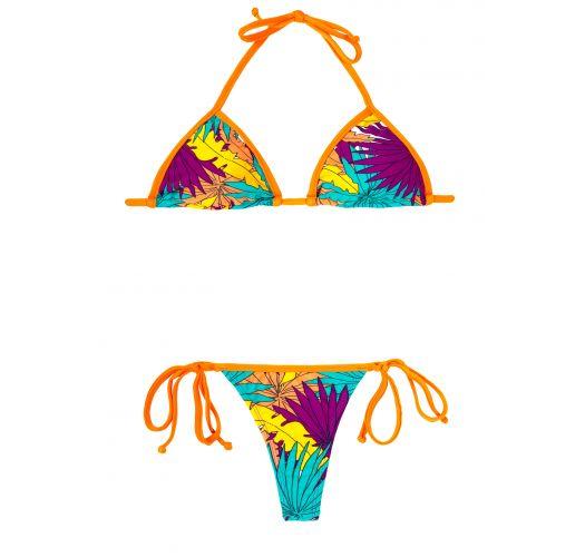 Bikiny s nohavičkami tanga v tropických farbách s oranžovými šnúrkami - FOLHAS LARANJA