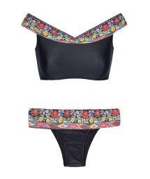 Black print crop top off shoulder bikini - FOLK SHOULDER