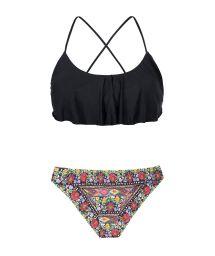 Black ruffled bikini top, floral print bottoms - FOLK SPORTY