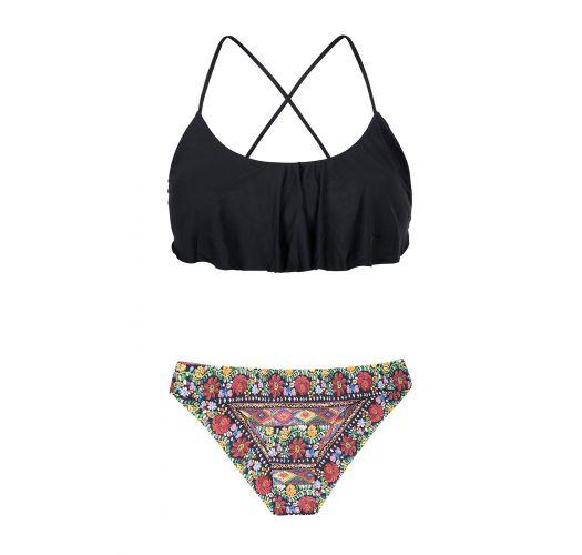 Genoeg Bikini Zwarte Bikini,top Met Ruches,gebloemd Broekje - Folk Sporty &QQ32