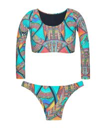 Crop top long sleeve multi-coloured bikini - FRACTAL CROP
