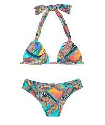 Coloured bikini triangle with slide scarf - FRACTAL MARINA