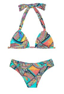 Coloured bikini triangle with slide scarf - FRACTAL MARINA