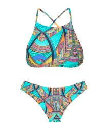Crop top print bikini with low-rise fit bottom - FRACTAL SPORTY