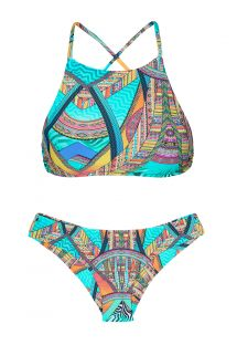 Crop top, baskılı, altı bağsız festone bikini - FRACTAL SPORTY