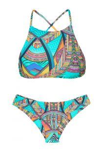 Turkoosinkirjava crop top -bikini - FRACTAL SPORTY