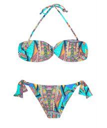 Multi-coloured bandeau bikini with tie side bottom - FRACTAL SUN
