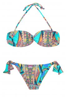 Multi-coloured bandeau bikini with tie side bottom - FRACTAL SUN
