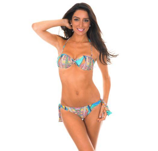 Bikini bandeau multicolore, bas à nouettes - FRACTAL SUN