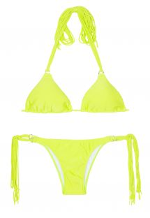 Greenish-yellow long fringe Brazilian bikini - FRANJA ACID