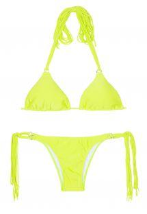 Limegul trekant bikini med lange frynser - FRANJA ACID