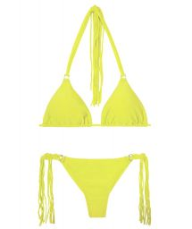 Lime yellow string bikini with long fringes - FRANJA ACID FIO