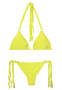Bikini string jaune lime à longues franges - FRANJA ACID FIO