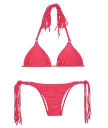 Long fringe dark pink triangle bikini - FRANJA FRUTILLY