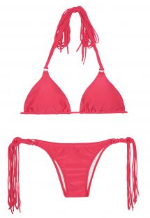 Long fringe dark pink triangle bikini - FRANJA FRUTILLY
