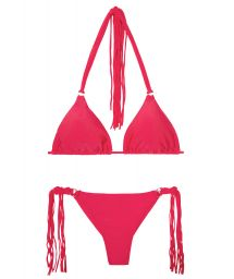 Deep pink string bikini with long fringing - FRANJA FRUTILLY FIO
