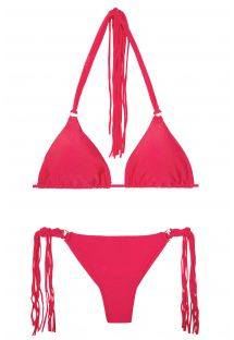 Deep pink string bikini with long fringing - FRANJA FRUTILLY FIO