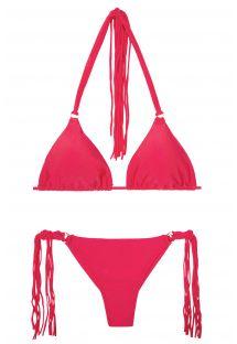 Mørk lyserød bikini med g-streng og lange frynser - FRANJA FRUTILLY FIO