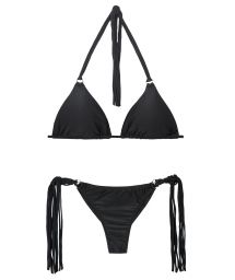 Black string bikini with long fringing - FRANJA PRETO FIO