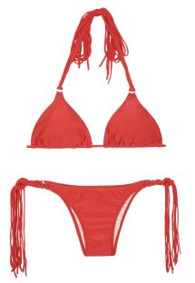 Bikini triangle rouge à longues franges - FRANJA RED