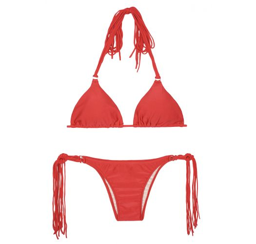 Long fringe red triangle bikini - FRANJA RED