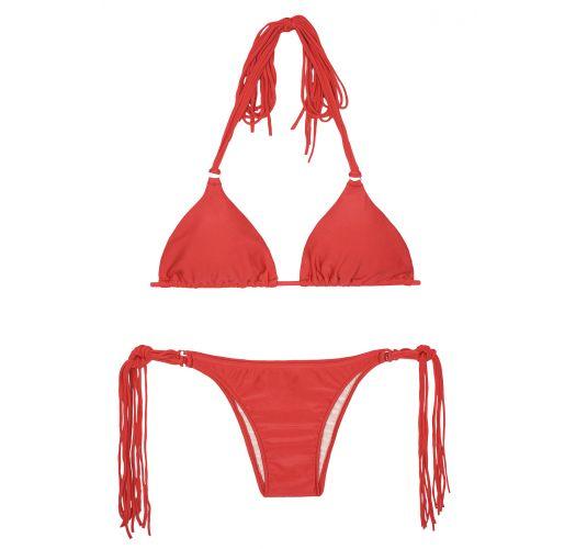 Long fringe red triangle bikini - FRANJA RED