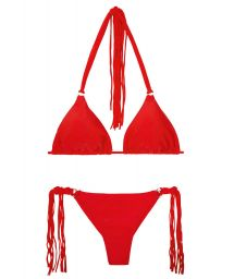 Red thong bikini with long fringing - FRANJA RED FIO