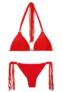 Bikini string rouge à longues franges - FRANJA RED FIO