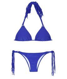 Dark blue triangle bikini with long tassels - FRANJA ZAFFIRO