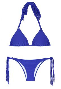 Dark blue triangle bikini with long tassels - FRANJA ZAFFIRO