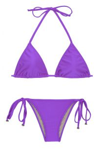 Purple side-tie Brazilian bikini with sliding top - FUCHSIA LACINHO