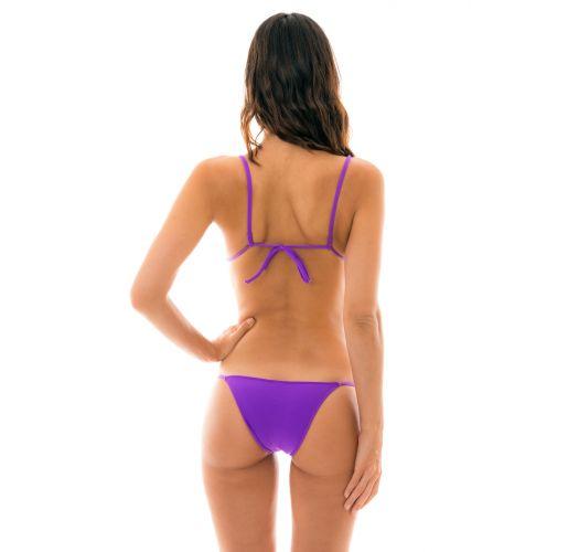 Purple side-tie Brazilian bikini with sliding top - FUCHSIA LACINHO