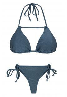 Τριγωνικό μπικίνι με στρινγκ και σχέδιο με λουράκια, σε μπλε-γκρι του σχιστόλιθου - GALAXIA DETAIL
