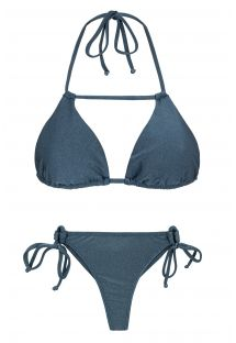 Skiferblå bikini med g-streng, trekant-top og pynteremme - GALAXIA DETAIL