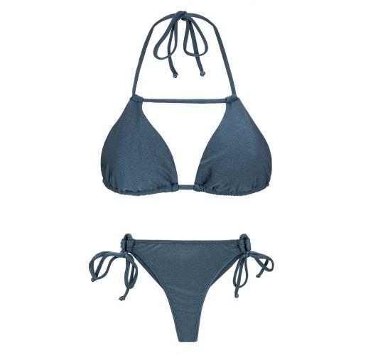 Бикинисеровато-синего цвета со стрингами и бюстгальтером с треугольными чашечками с перемычкой - GALAXIA DETAIL